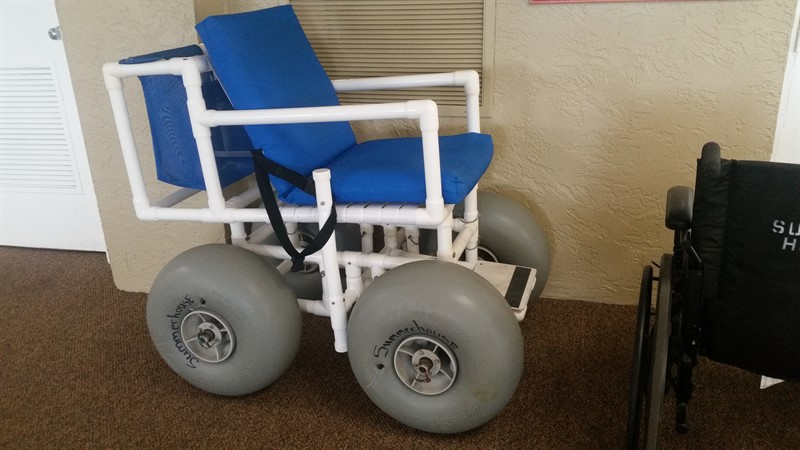 Beach wheelchair guests can borrow to get to the sand.